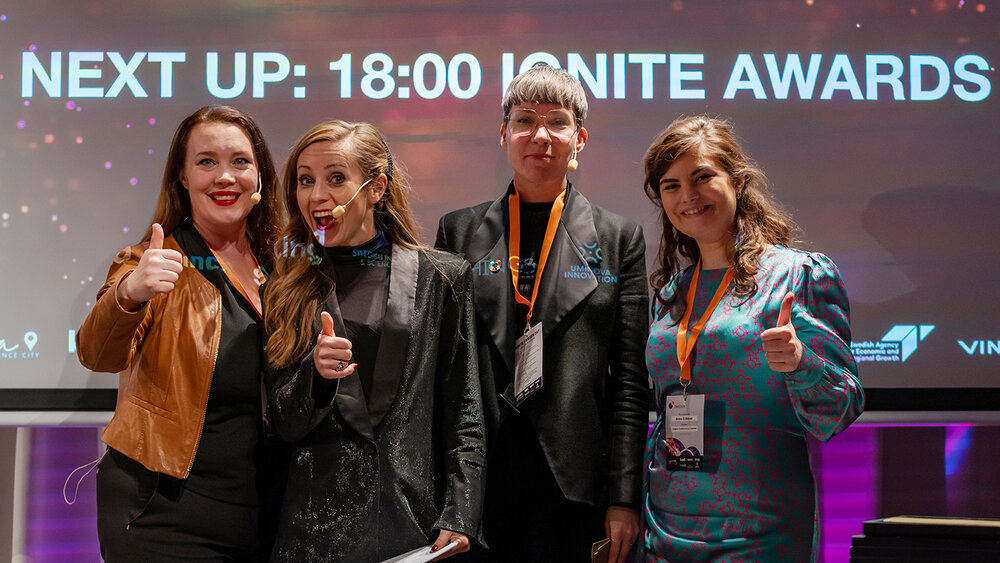 Ignite Sweden gives thumb up to collaborations between startups and large companies. From left to right: Stina Lantz, Maria Olofsson, Darja Isaksson and Amira El-Bidawi.