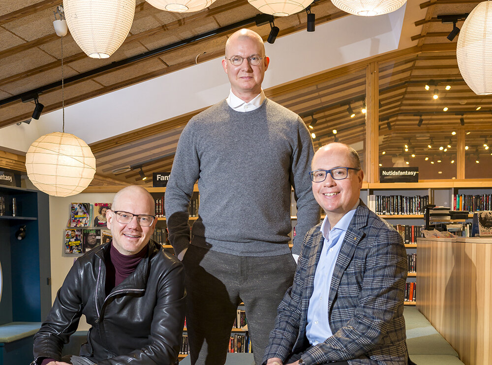 Johan Rosén (Business Strategist), Patric Kiraly (Development Manager, Cultural Administration) and Sten Bernhardsson (Administrative Director, Cultural Administration) are some of the Uppsala team's zealots who are passionate about working with startups. Photo: Göran Ekeberg