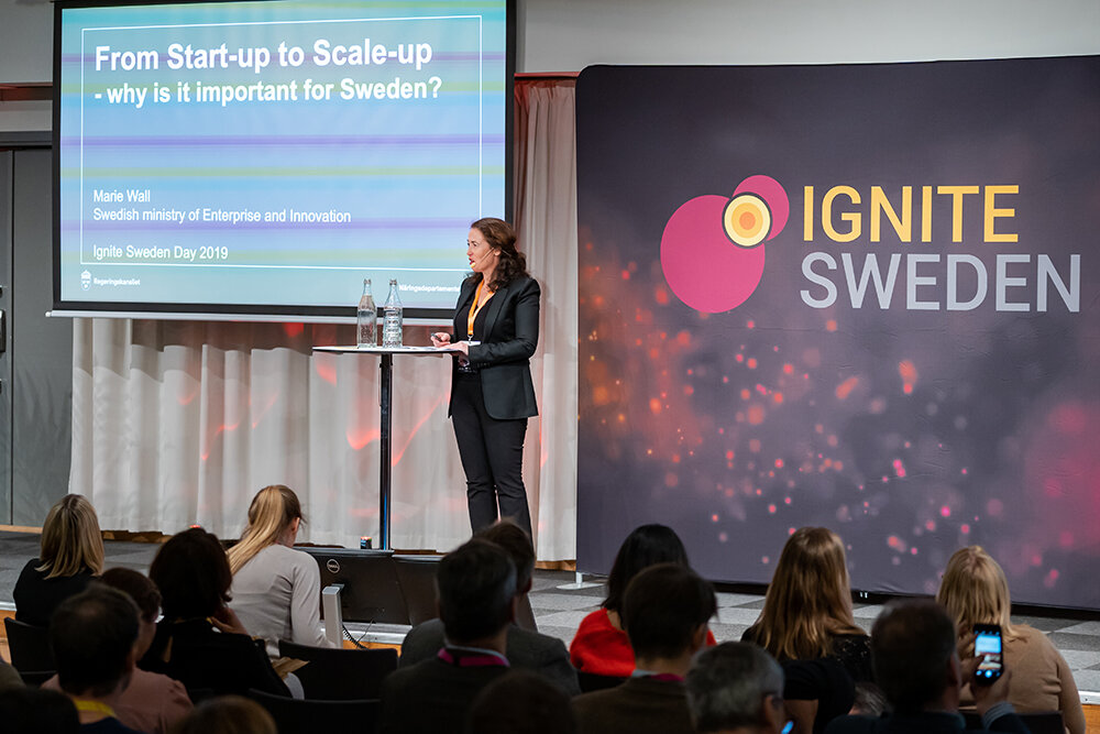 """""""Ignite Sweden is the tool we have to really foster this new ecosystem"""", says Marie Wall, Deputy Director for Startups at the Ministry of Enterprise of Sweden, on her keynote presentation at Ignite Sweden Day 2019."""